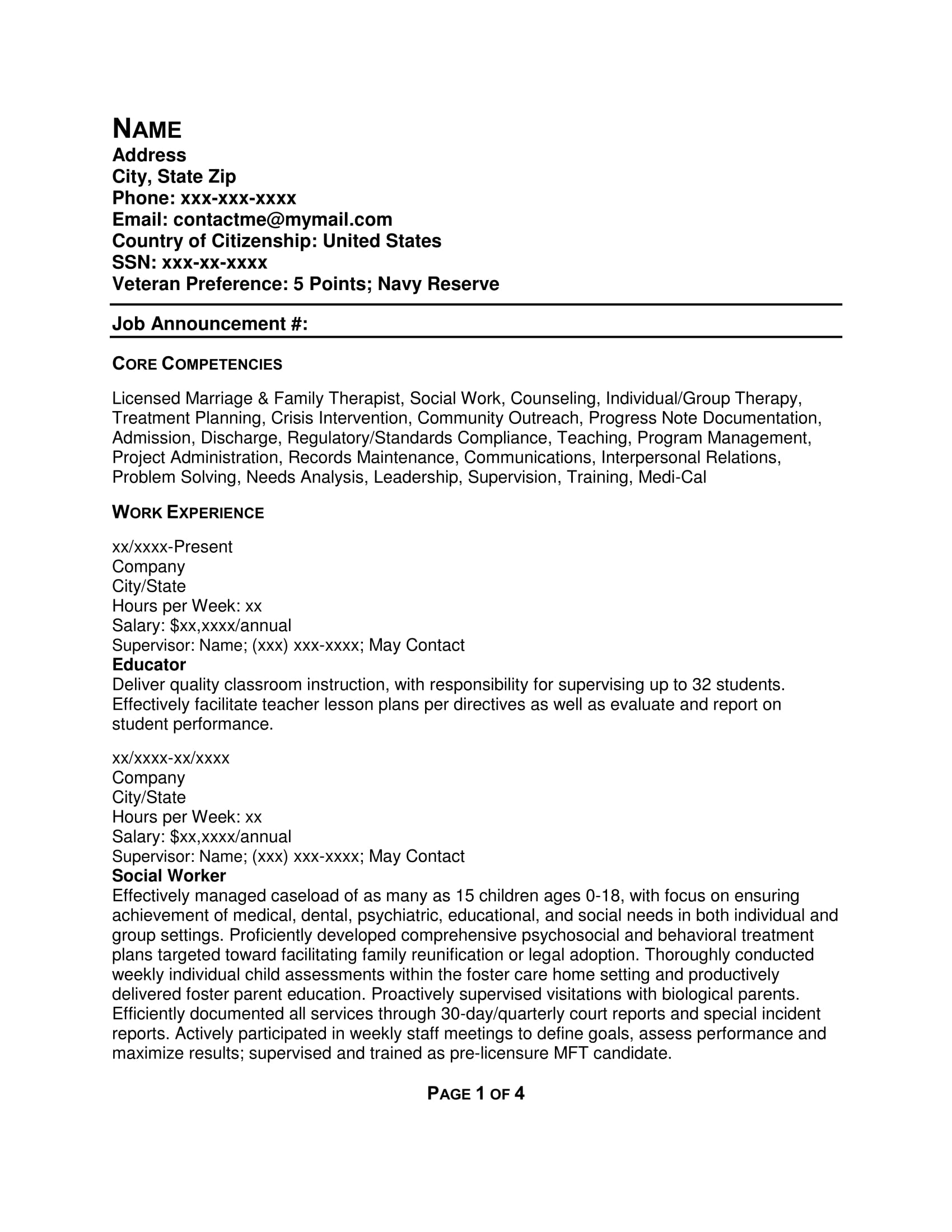 Free Resume Samples – Federal Resume Example