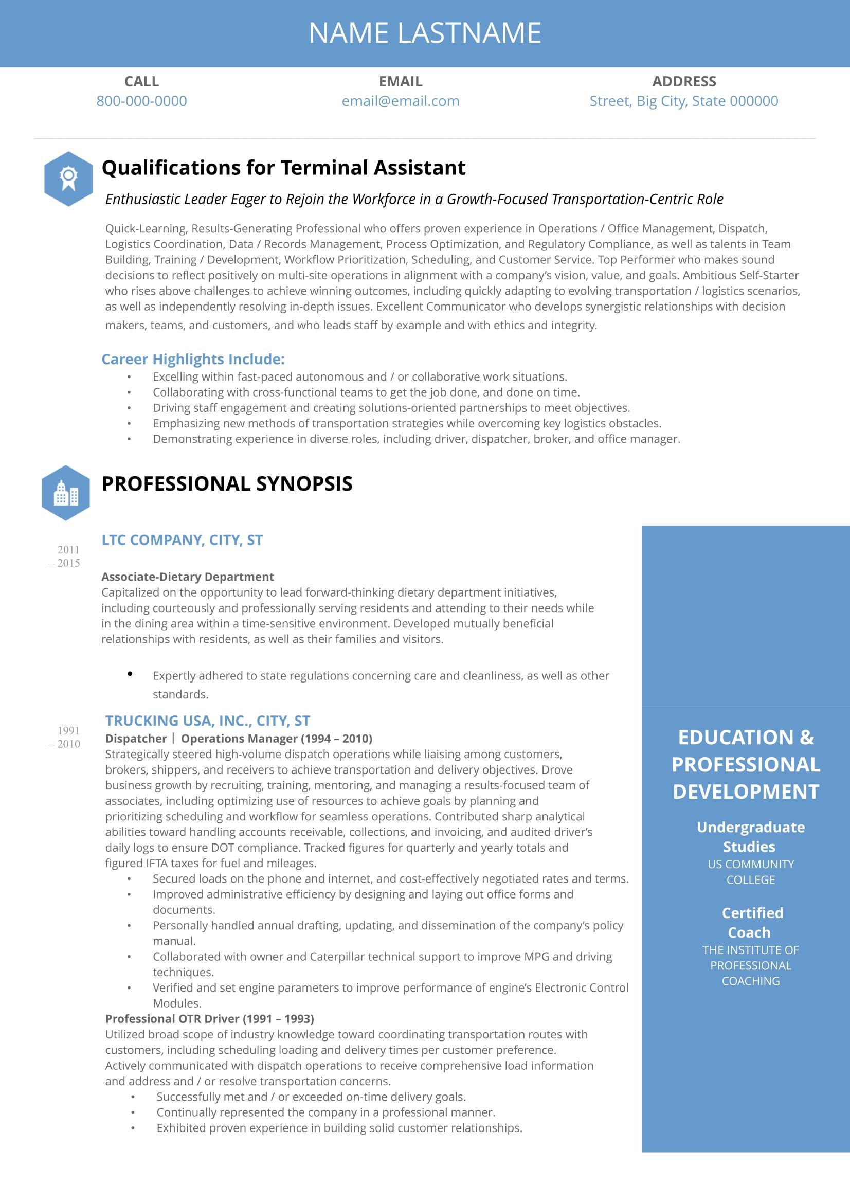 Professional Resume   Sample #2