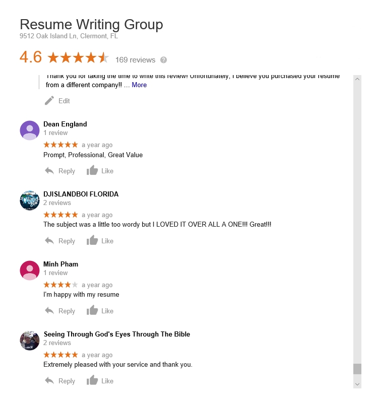 the resume writing group reviewed