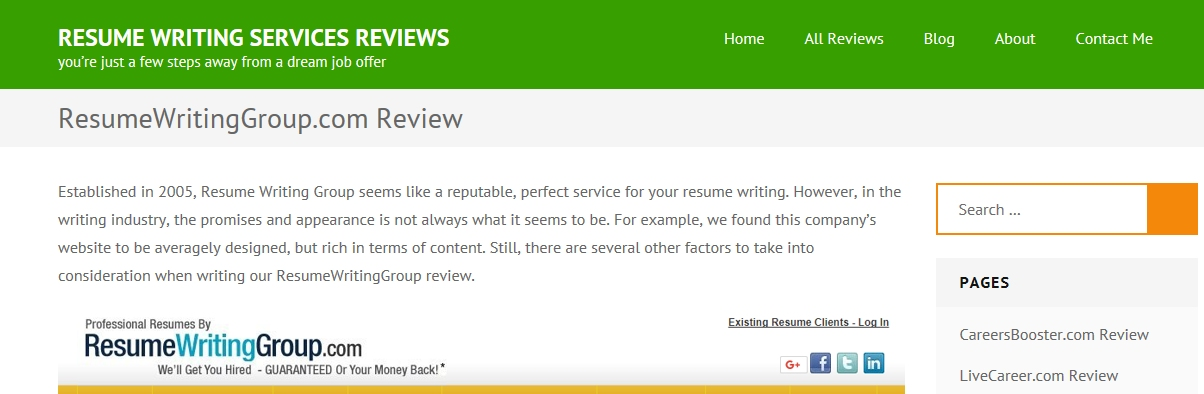 review of resume writing group