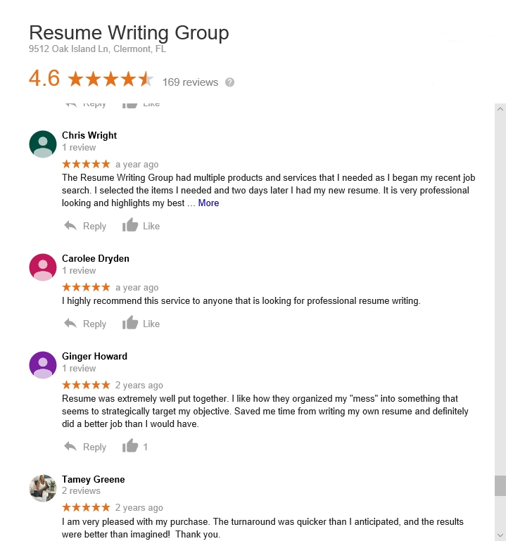 resumewritinggroup.com reviews & ratings