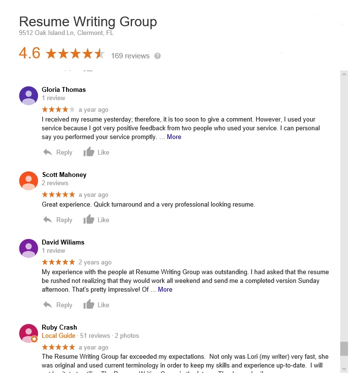 a review of the resume writing group service