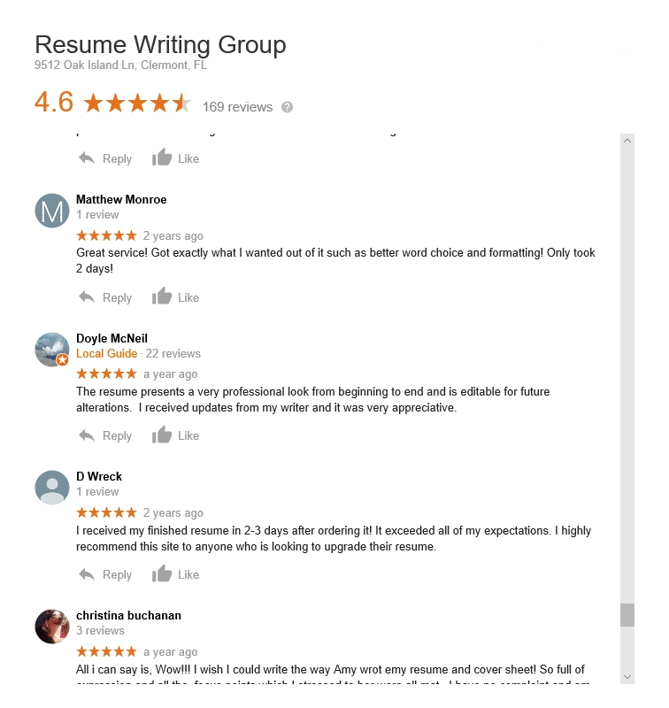 customer service the resume writing group reviews