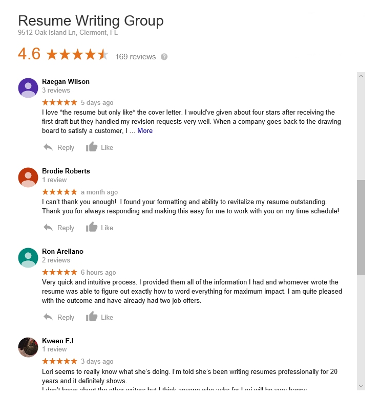 reviews of the resume writing group by brodie roberts