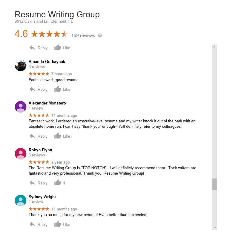reviews resume writing group.com