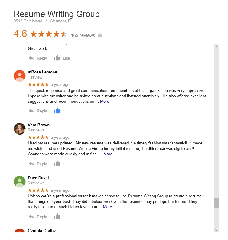 reviews of the resume writing group by customers