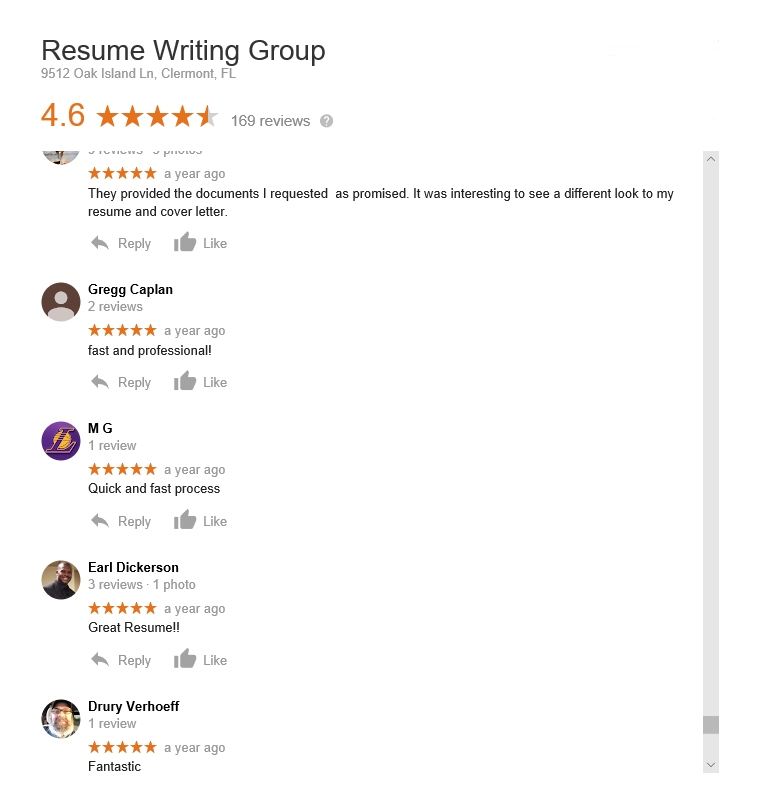 resume writing group - google reviews