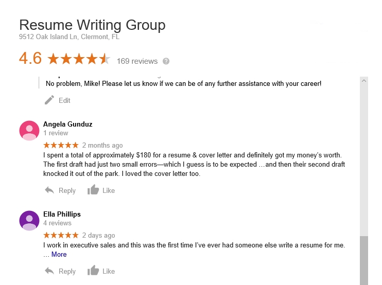 customer reviews of the resume writing group