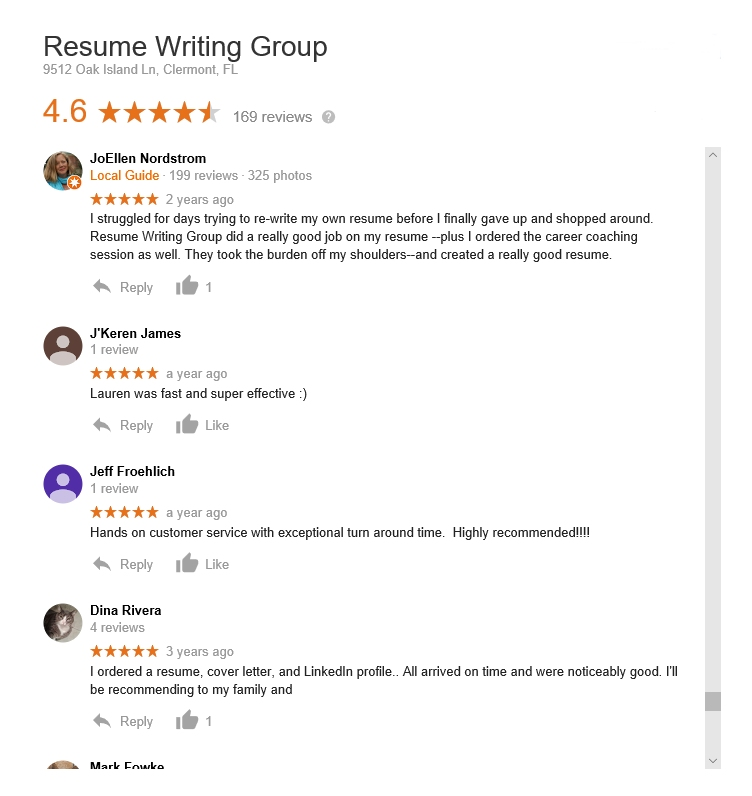 review the resume writing group company